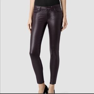 ALL SAINTS COATED DENIM IN MULBERRY